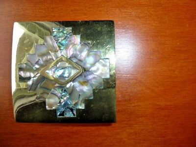 "VINTAGE 1970's SOLID BRASS & ABALONE SHELL INLAID BELT BUCKLE, 2-3/8"" SQUARE"