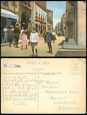 Gibraltar Old Colour Postcard Waterport Street with Post Office Street Scene Boy