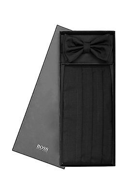 Rare Hugo Boss Black Silk Pre-Tied Bow Tie and Cummerbund Set MSRP $395
