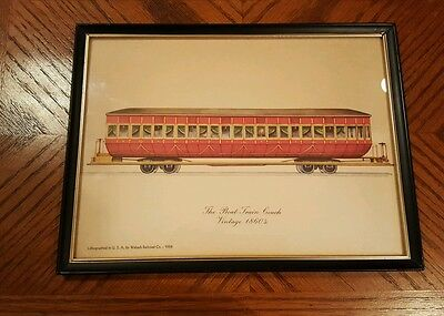Wabash Railroad Lithograph THE BOAT TRAIN COACH in Frame