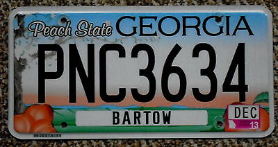 GEORGIA Peach State Peaches & Tree Blossoms Bartow County License Plate PNC 3634