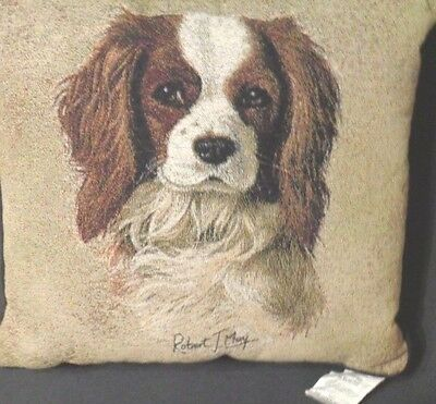 Cavalier King Charles Spaniel Needlepoint Style Toss Pillow