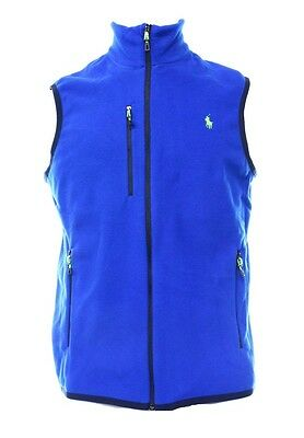 Polo Ralph Lauren NEW Blue Mens Size Small S Mock-Neck Fleece Vest $98 026