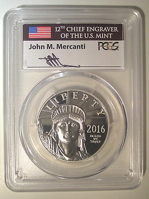 MERCANTI Signed FIRST DAY * 2016-W $100 Dollar * PLATINUM * PCGS PR70 DCAM EAGLE