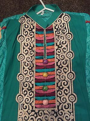 Pakistani/Indian Green Embroidered  Shalwar Kameez, Trousers  Suit Sz M