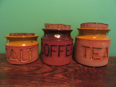 Florenz Canisters 1970s Corked Earthenware Australia Set of 3