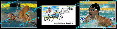 Masimilliano Rosolino Olympic Swimming Gold Medallist Signed Cover +2 Photos