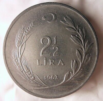 1963 TURKEY 2 1/2 LIRA - Excellent Collectible Coin - MIDDLE EAST BIN #1