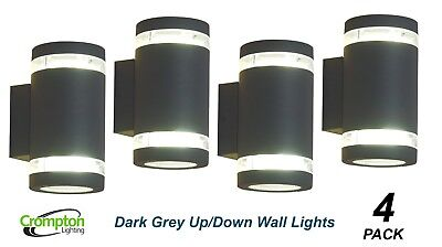 4 x Black LED Up/Down Outdoor Exterior Wall Light - 2 x 12W 240V GU10 IP44