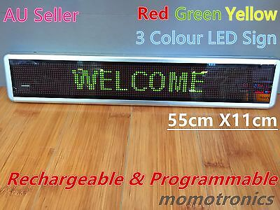 3 Colour Rechargeable Programmable Scrolling LED Message Sign 55x11cm