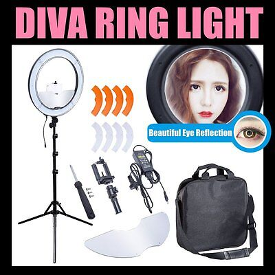 """AU Dimmable Diva LED Ring Light 19"""" / 48cm 55W Mirror and Stand Make Up Studio"""