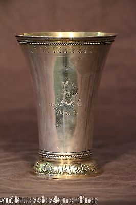 Antique solid silver toasting GOBLET wine cup hallmarked chalice beaker gilt