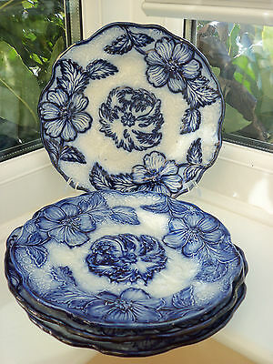 Four Matching Blue Flow Ware Plates, 22.5cm Across Approx
