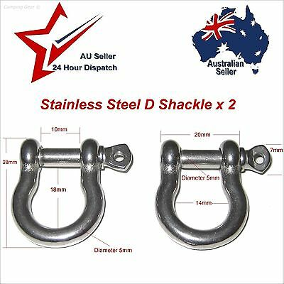 304 Stainless Steel D Shackle 2pcs M4 (4mm)  camping hiking paracord joiner etc: