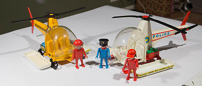 2 x Vintage Playmobil Helecopters