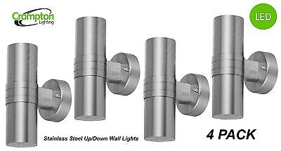 4 x Stainless Steel LED Up/Down Outdoor Exterior Wall Light - 2 x 12W 240V GU10