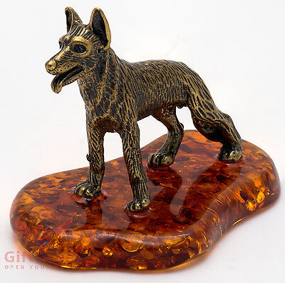Solid Brass Amber Figurine of German Shepherd Dog IronWork