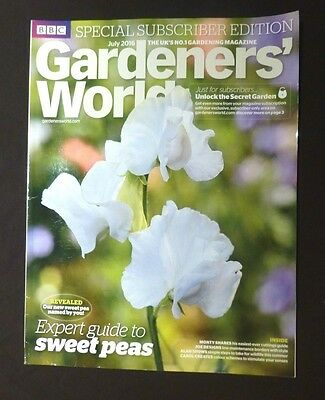 Gardeners World July 2016 BBC, Subscriber's Edition, Expert guide to Sweet Pea