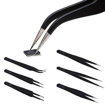 6Pcs Safe Forcep Anti-static Stainless Steel Tweezer Repair Pincette Tool Kits