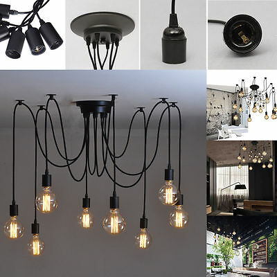 DIY Edison Vintage Industrial Loft Spider Chandelier Pendant Ceiling Light Lamp