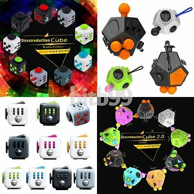 Fidget kick Cubes Anxiety Stress Relief 6/12-side Dice Toys For Adult Kid AN