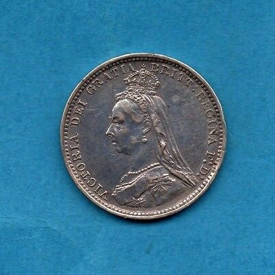 1887 SILVER THREEPENCE COIN. QUEEN VICTORIA. VICTORIAN JUBILEE HEAD 3d (CLEANED)