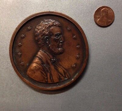 """Antique Lincoln Souvenir Penny of Woolworth Building, NYC - 3"""" diameter"""