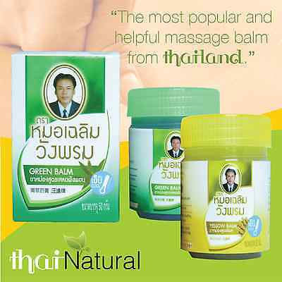 50g WANGPHROM Original Thai Herbal Massage Green & Yellow Balm Relief Pain