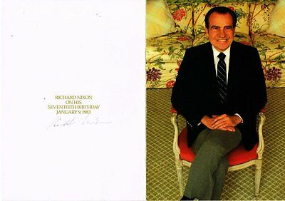 Richard Nixon Autographed Signed birthday card
