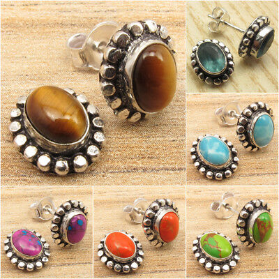925 Silver Overlay TIGER'S EYE & Other Stones Variation ETHNIC Stud Earrings