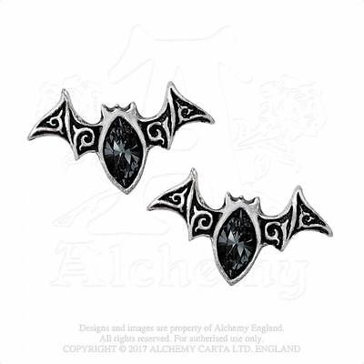 Alchemy Gothic - Viennese Nights Stud Earrings - Goth Bats