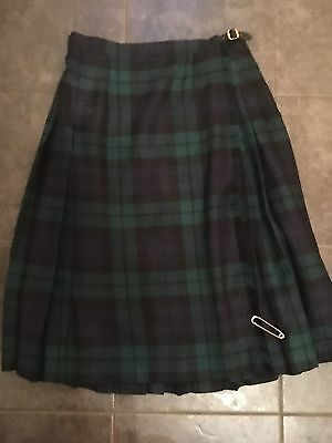 "Highland Kilts Tartan Green Wool Kilt UK 16 With Pin Length 28.5"" Black watch"