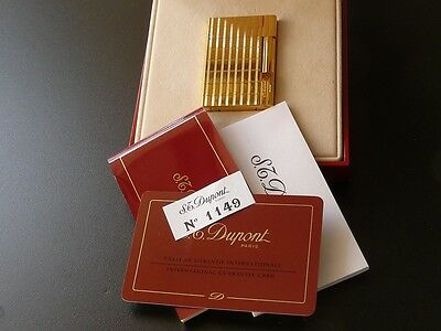 S T Dupont Line 2 Gold Plated Gatsby Lighter  - Boxed with Papers - Excellent
