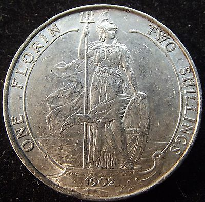 1902 Florin. Excellent Condition With Lustre. Edward V11 British Silver Coins.