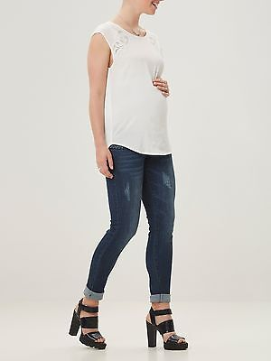 Mamalicious Maternity Short Sleeve Summer Top in White Sizes 10 - 16