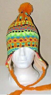 Knit Hat W/ties Youth Girl's Nwot