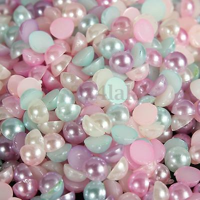 3000Pcs Mixed Half Pearl Round Bead Flat Back Scrapbook for Craft FlatBack 4mm