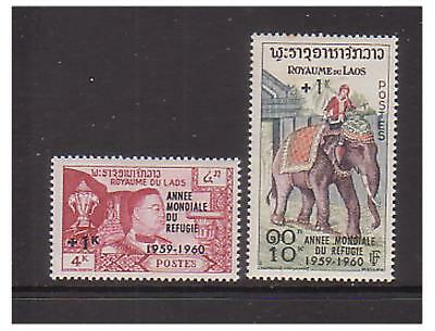 Laos - SG 103/4 - u/m - 1960 World Refugee Year (Surcharged)