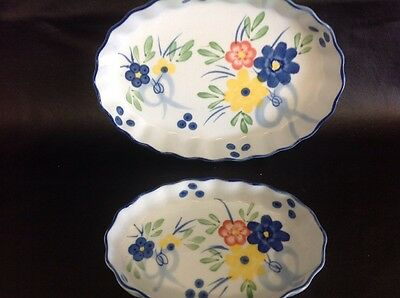 2 x Flan Dishes - Ceramic - Oval - White, Yellow & Blue Flowers & Blue Edging