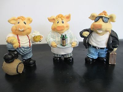 3 x Pig Collectable Resin Ornaments Figures - Regency Fine Arts - 11.5cm High