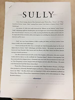 SULLY 28 PAGE PRODUCTION NOTES Tom Hanks Clint Eastwood plane Hudson River Hero