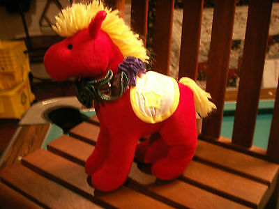 vintage applause plush red horse pony 1993 colorful 8in boys&girls