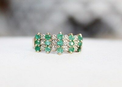 4.5g ESTATE Fine 10k gold DIAMOND & EMERALD Cluster Cocktail Ring sz 6 1/4