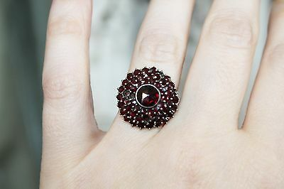 ART DECO Sterling Silver Rose Cut GARNET Cluster Dome COCKTAIL Ring 6 1/4