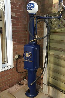 Vintage Early Wayne Petrol Pump in BP Blue restored condition with hose + globe