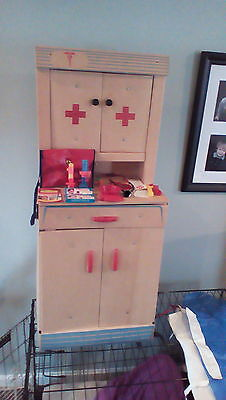 Vintage Hasbro Toyville cardboard nurse or Dr's cabinet with accessories