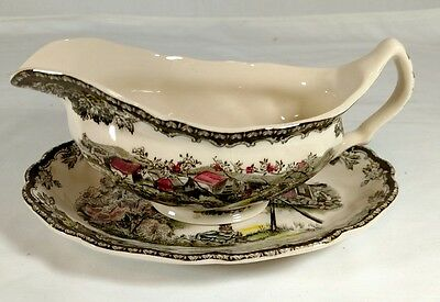 Johnson Brothers THE FRIENDLY VILLAGE Gravy Boat & Under Plate