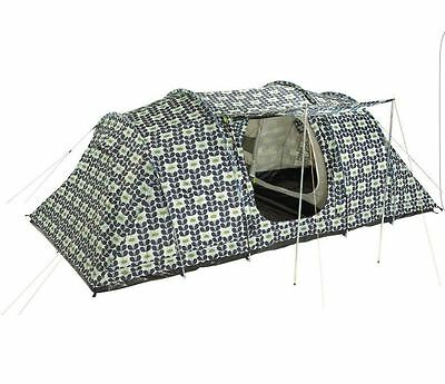 Orla Kiely 4 Person, 2 Bedroom, Camping Tunnel/Tent. Big Tulip Moss Green Style
