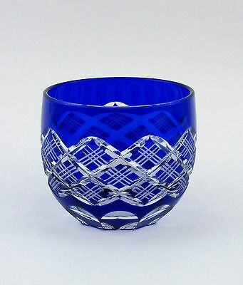 "Cut glass EDO KIRIKO ""Yarai Crest"" - ""Guinomi"" sake glass/blue -"