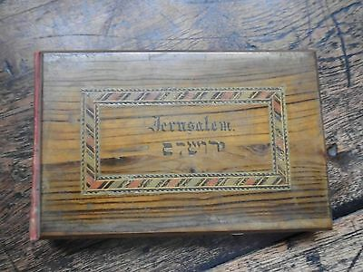 Antique Pressed Flowers From The Holy Land Book Olive Wood Inlayed  C 1905